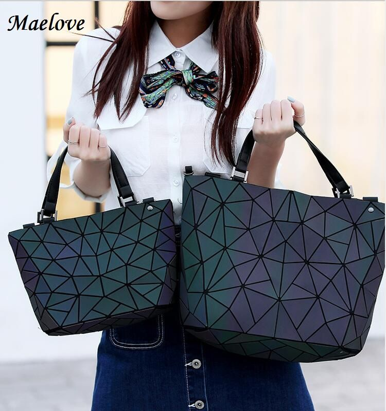 Maelove Luminous bag Women Geometry Diamond Tote Quilted Shoulder Bags Laser Plain Folding Handbags Hologram Free Shipping