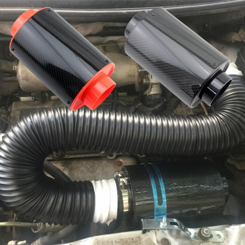 VODOOL Air Intake Carbon Fiber Heat Shield with Internal Filter Element for Universal Car Exhaust Muffler Pipe Cover Protector