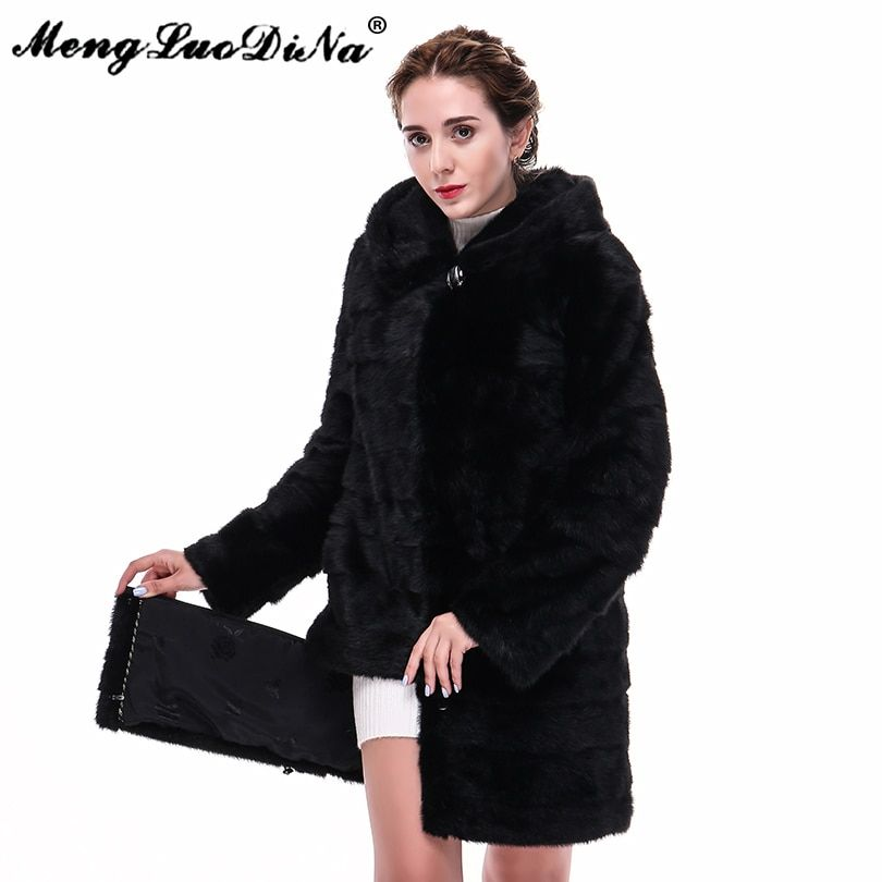 90CM Detachable Women Warm Mink Fur Coat Hooded Natural Fur Outwear Women's Long Jacket Street Outwear Black Hoodie Wear Fashion