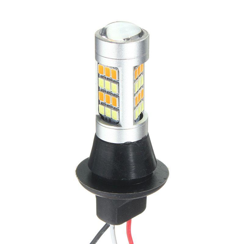 2X DC 12-24 В T20 7443 2835 42smd 1000lm 20 Вт автомобиль свет двойной Цвет горки лампа лампа дневного времени Бег света DRL