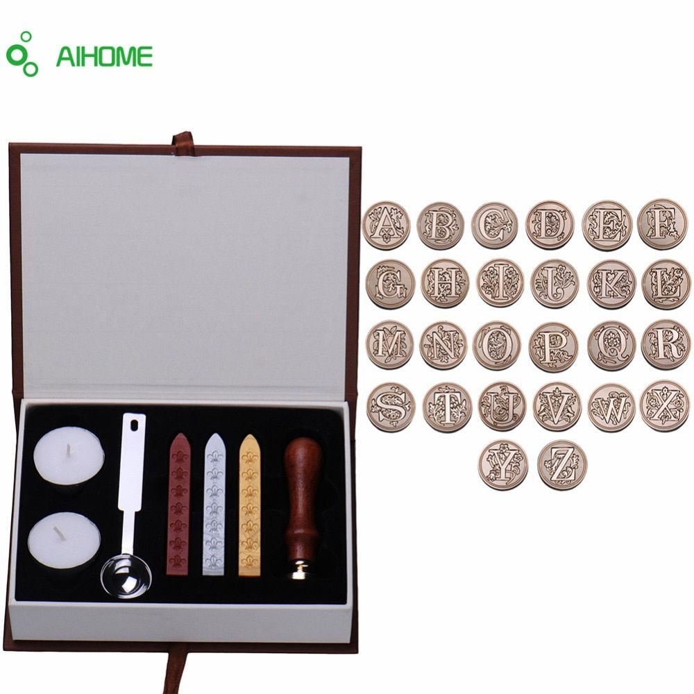 Personalized Harry Potter Hogwarts School Badge Carta Del Alfabeto Del Vintage Inicial Wax Seal Sello w/Set Kit de Cera Carta AZ opcional