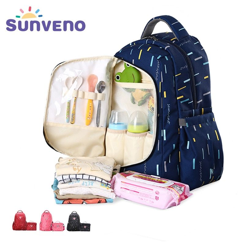 SUNVENO 2in1 Diaper Bag Fashion Mummy Maternity Nappy Bag Baby Travel Backpack Organizer Nursing Bag for Baby <font><b>Care</b></font> Mother & Kids