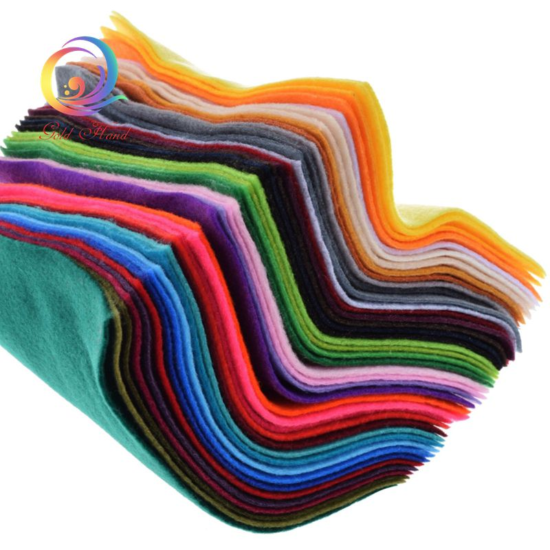 Haisen, 42 pièces 1mm épaisseur Polyester feutre doux Non-tissé feutre tissu de décoration de la maison modèle Bundle pour coudre des poupées artisanat