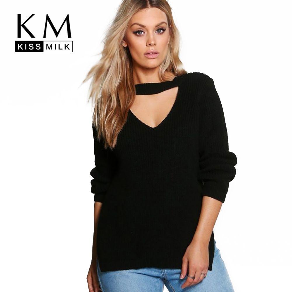 Kissmilk 2018 большой размер женская одежда повседневные пикантные однотонные выдалбливают Сплит Тонкий свитер теплый плюс размер свитер 4XL 5XL 6XL