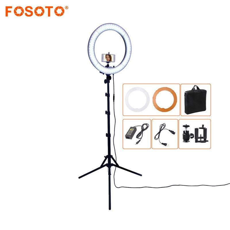 FOSOTO RL-18 55W 5500K 240 LED Photographic Lighting Dimmable Camera Photo/Studio/Phone Photography Ring Light Lamp&Tripod Stand