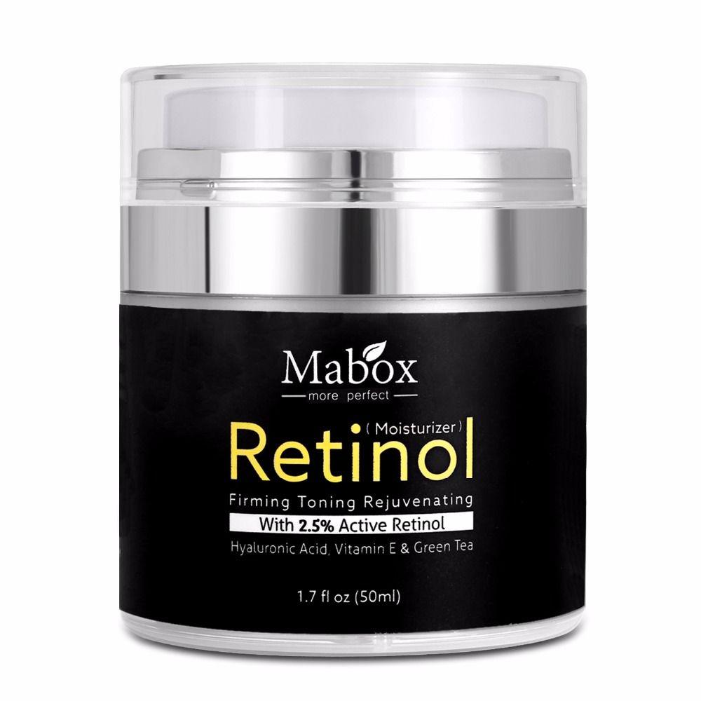 Mabox 50 ml Rétinol 2.5% Hydratant Crème Pour Le Visage Acide Hyaluronique Anti-Âge Supprimer Rides Vitamine E Collagène Lisse Blanchiment Crème
