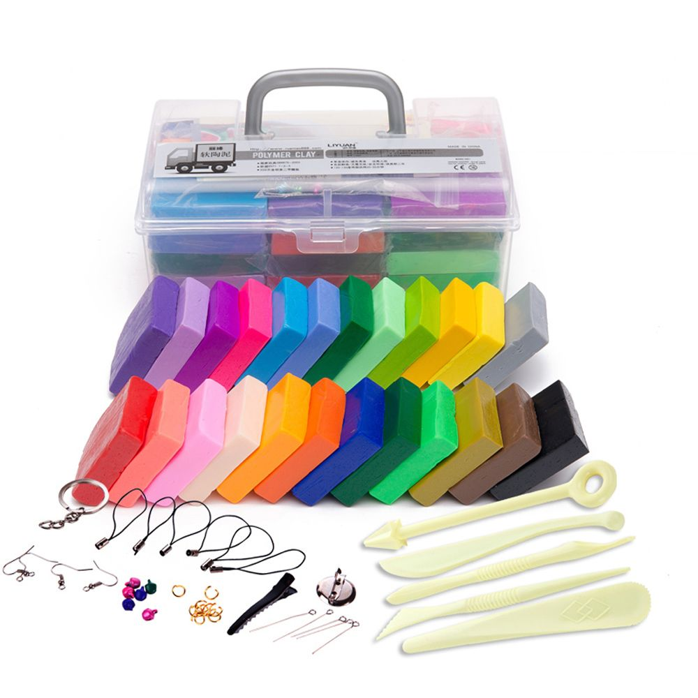 24 Colors Polymer Clay DIY Soft Modelling Clay Set with 5 pcs Tools Gift Box for Child Nontoxic Slime Toys Malleable
