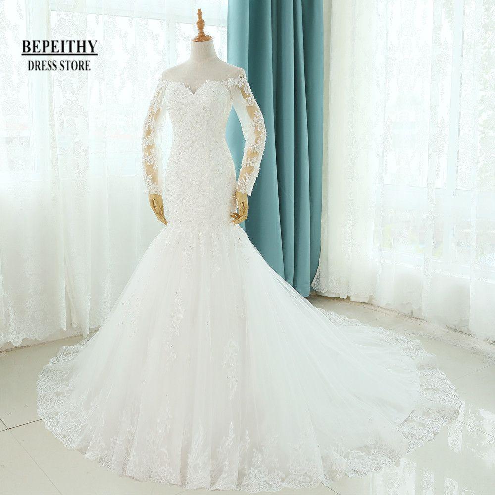 Echt Fotos Vestido De Novia Mermaid Brautkleider Gericht Zug Lange Hülse Angepasst Günstige Bräute Kleid Lange Spitze Brautkleid