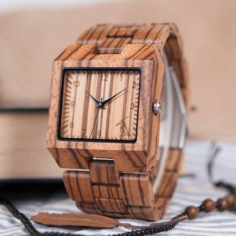 BOBO BIRD L24 Square Zebra Wood Bamboo Men's Top Quartz Casual Brand Watch relogio masculino With Leather Strap For Gift