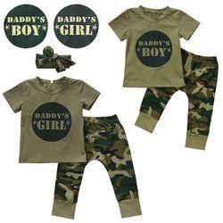 Enfants de mode d'été bébé garçons filles vêtements définit bow 3 pcs camouflage sport costume vêtements ensembles garçons filles d'été ensemble