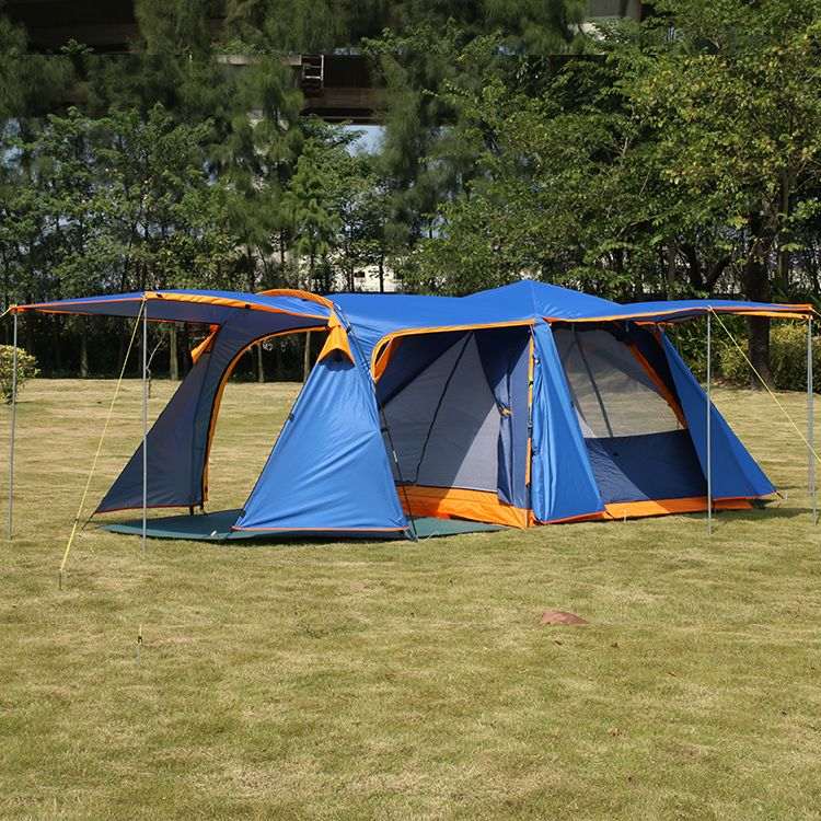 Lengthening hall 3-4persons automatic family anti-big raning outdoor camping 1hall 1living room large tent include mat