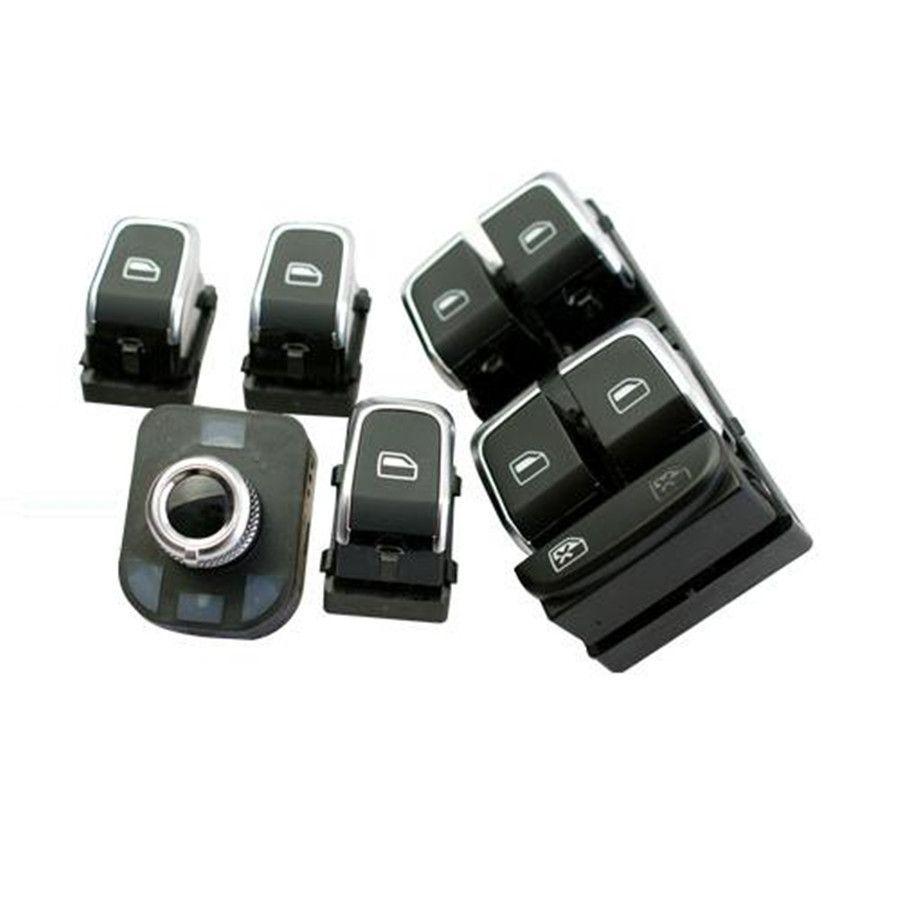 COSTLYSEED Chrom Master Window Switch + Rückspiegel Taste + Fenster Schalter für A4 B8 A5 Q5 4GD 959 851 8K0959855 8K0 959 565