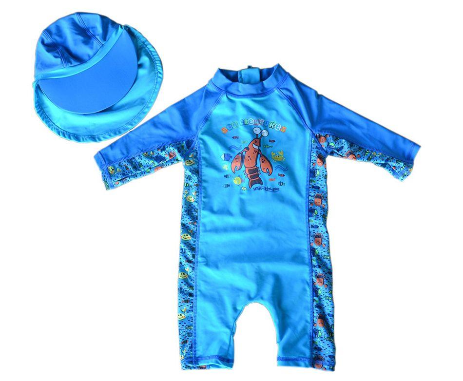 Bonverano (TM) Baby Jungen Sunsuit Bademode UPF 50 + Uv-schutz S/S Reißverschluss Blau Meer Ein Piece Bademode Rashguard