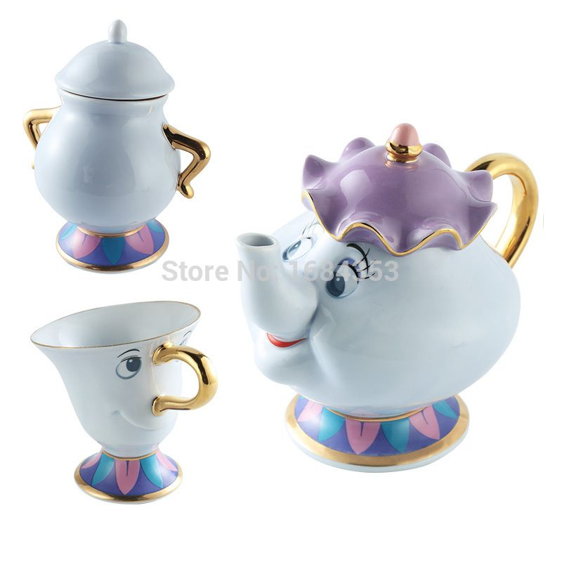 Beauty And The Beast Tea Set Mrs Potts <font><b>Chip</b></font> Teapot Cup Set Lovely Porcelain Coffee Creative Gift [1 Pot + 1 Cup + 1 Sugar Bowl]