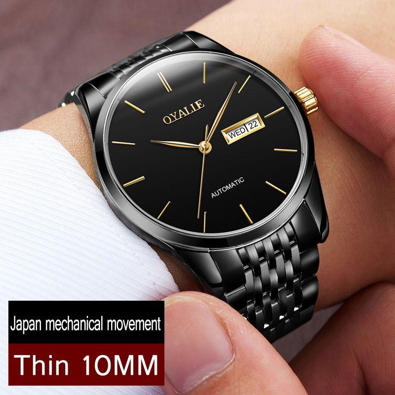 Genuine Mechanical Watch OYALIE Brand Men Ultra thin Watches Automatic Wristwatch Male Fashion Luxury Japanese movement Clock