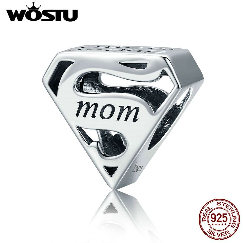 WOSTU Genuine 925 Sterling Silver Super Mom Mother Beads fit original WST Charm Bracelets & Bangles Mother Gift CQC429