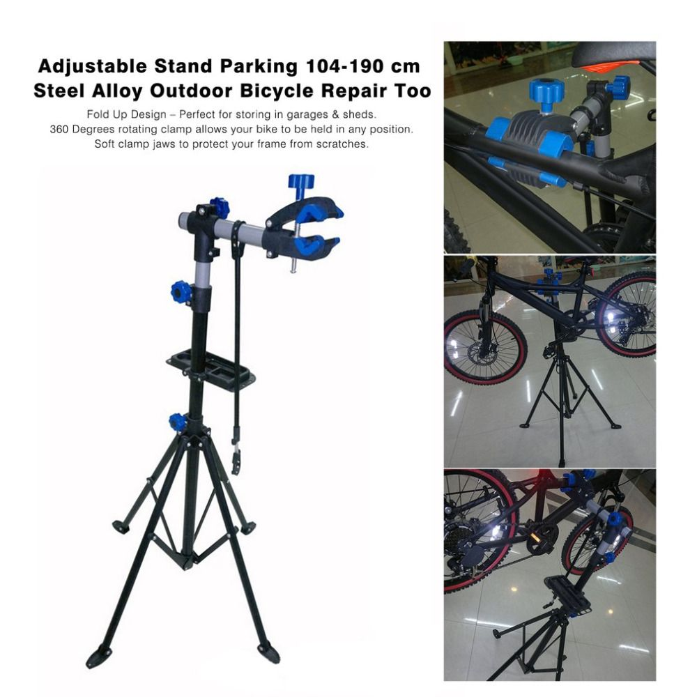 Adjustable Bike Repair Stand Parking Mountain Bicycle Accessories Outdoor Folding Clamp MTB Wall Mount Bicycle Repair Tool Stand