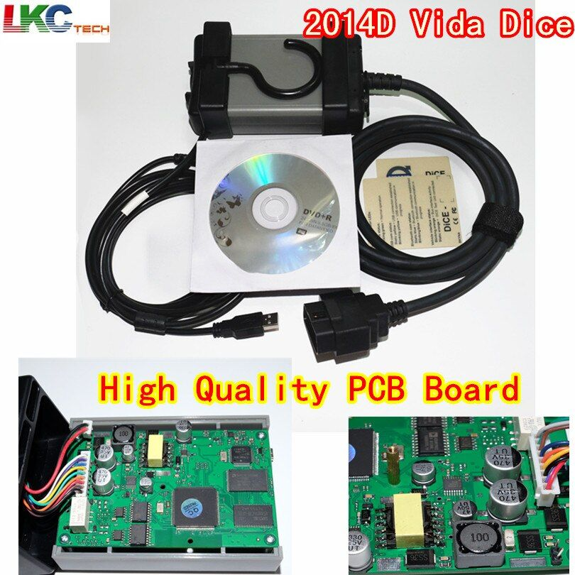 Russion Stock! Vida Dice 2014D Full ChipMulti-Language Dice Pro+ Pro Green Board Full Function Diagnostic Scanner Tool