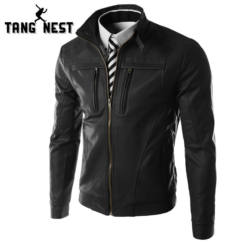 TANGNEST 2017 New Casual Slim Men Leather Jacket Fashion Men PU Leather Jacket Solid Color Mandarin Collar Male Jacket MWP269
