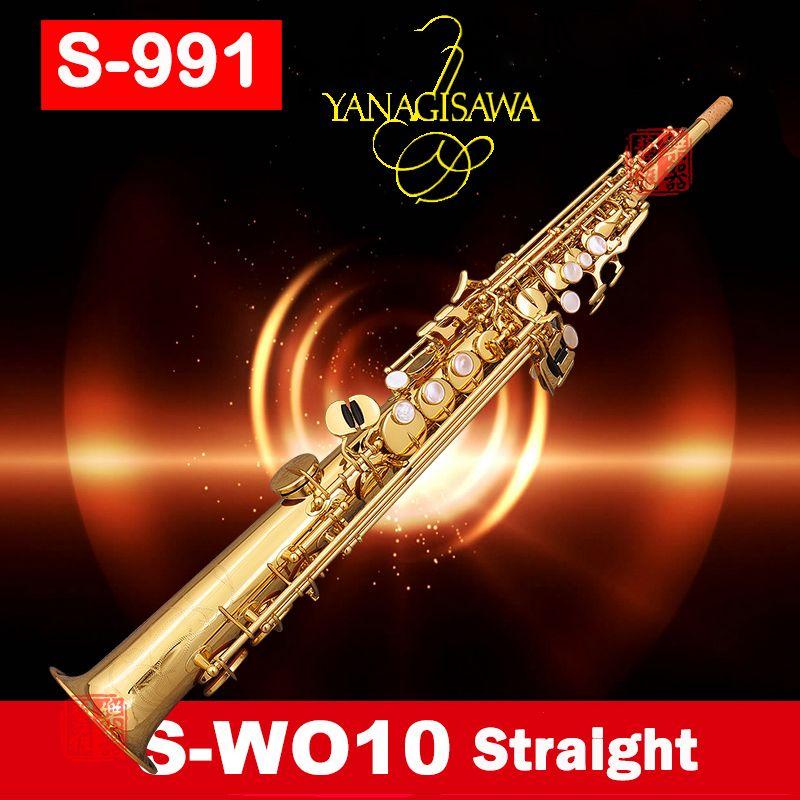 professional Japan YANAGISAWA S991 S-W010 B(B) Split Soprano saxophone Gold Lacquer sax musical instruments with case mouthpiec
