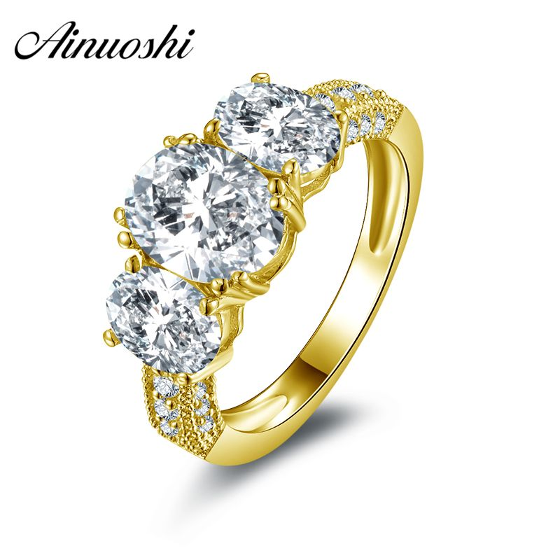 AINUOSHI 10k Solid Yellow Gold Wedding Rings Three Row Drilling Oval Cut Joyeria Fina Fine Jewelry 2 Carat Women Engagement Ring