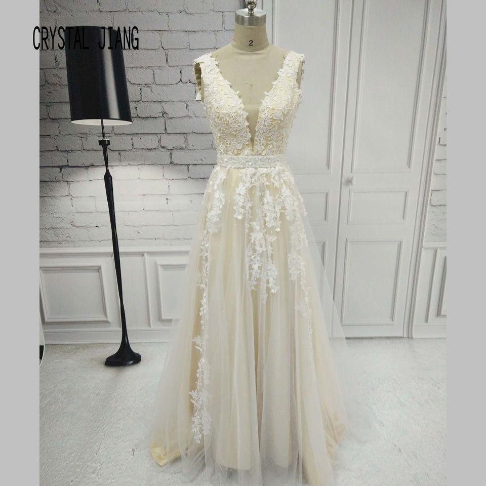 CRYSTAL JIANG Gorgeous V Sheer Neck Lace applique Waist Beaded A Line Formal V back Tulle Prom Long Dresses