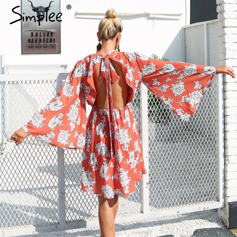 Simplee Backless lace up print chiffon dress women Flare sleeve elegant midi dress Streetwear short dress robe femme 2017