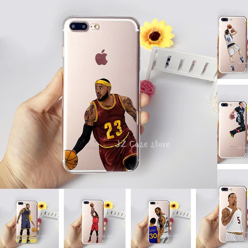 NBA Coque Jordan Curry James Kevin Durant Kobe Basketball Case for iphone 6 7 6s 8 plus X 5s 5 se Transparent Silicon TPU Fundas