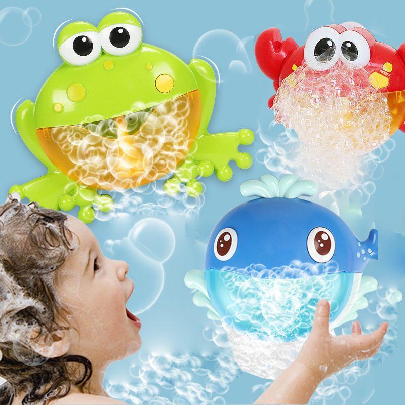 Enfants natation eau jouet bébé bain jouets grenouilles crabe baleine bulle Maker souffleur automatique avec musique lavage bain jouer jouet pour enfants