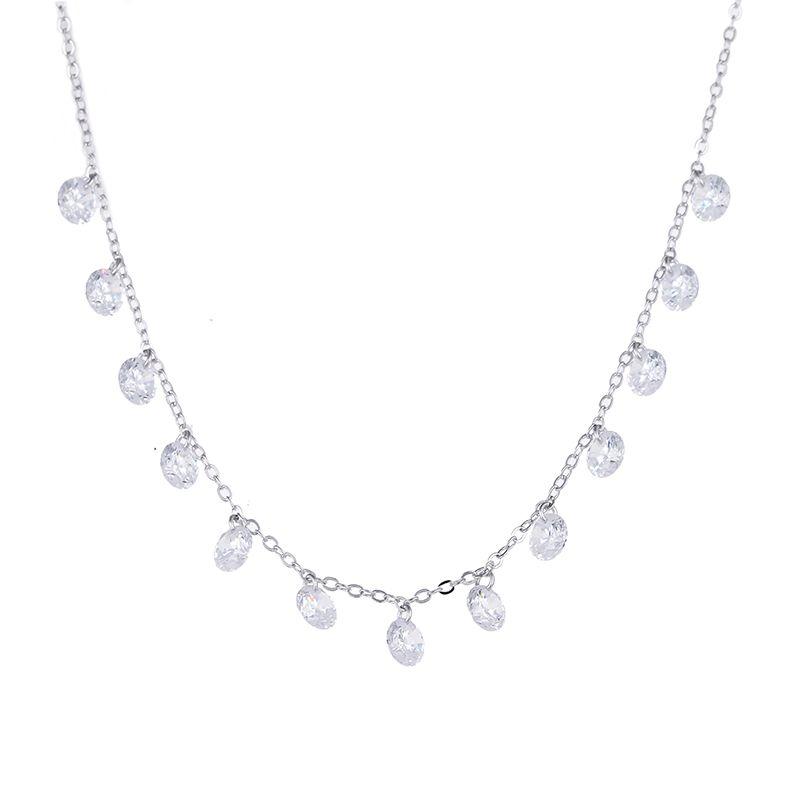 100% 925 en argent sterling de mode brillant zircon femmes à chaîne courte colliers ladies'necklace bijoux de mariage cadeau promotion