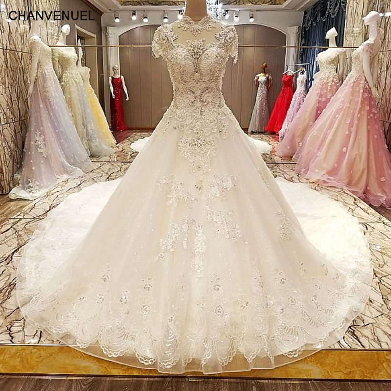 LS77846 luxury wedding dress 2018 lace up back ball gown short sleeves beaded crystal lace wedding dresses real photos