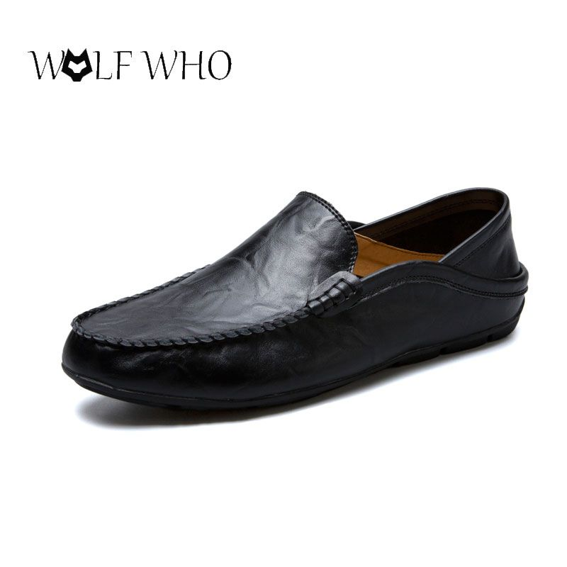 WolfWho Men Shoes Genuine Leather Moccasin Loafers Designer Slip On Flat <font><b>Boat</b></font> Shoes Male Classical Chaussure Homme Size 37-47
