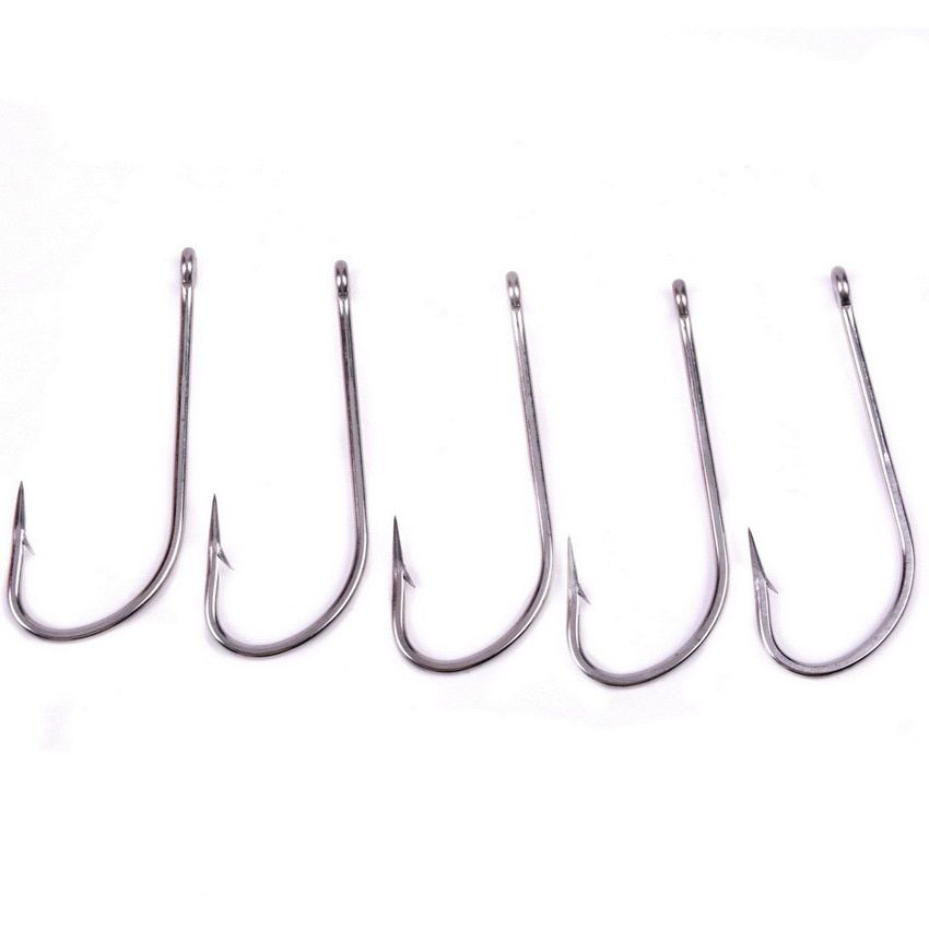 50pcs 1/0-10/0# Stainless Steel Fishhook Size Brand Fishing Hook Fish Hook White Color Jig Big Hooks Treble Hooks Texas Tackle