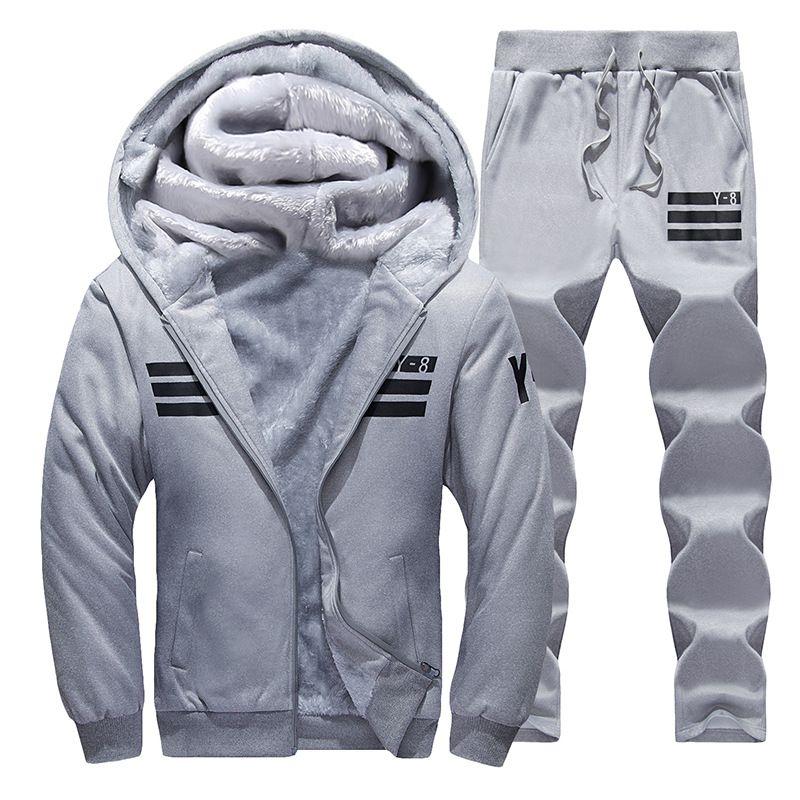 Sporting Suit Men Winter Tracksuits gray Men's Sets Thicken Fleece Plus Size 9XL Hoodies+Pants Sweat Suit Outwear Style Hoodie