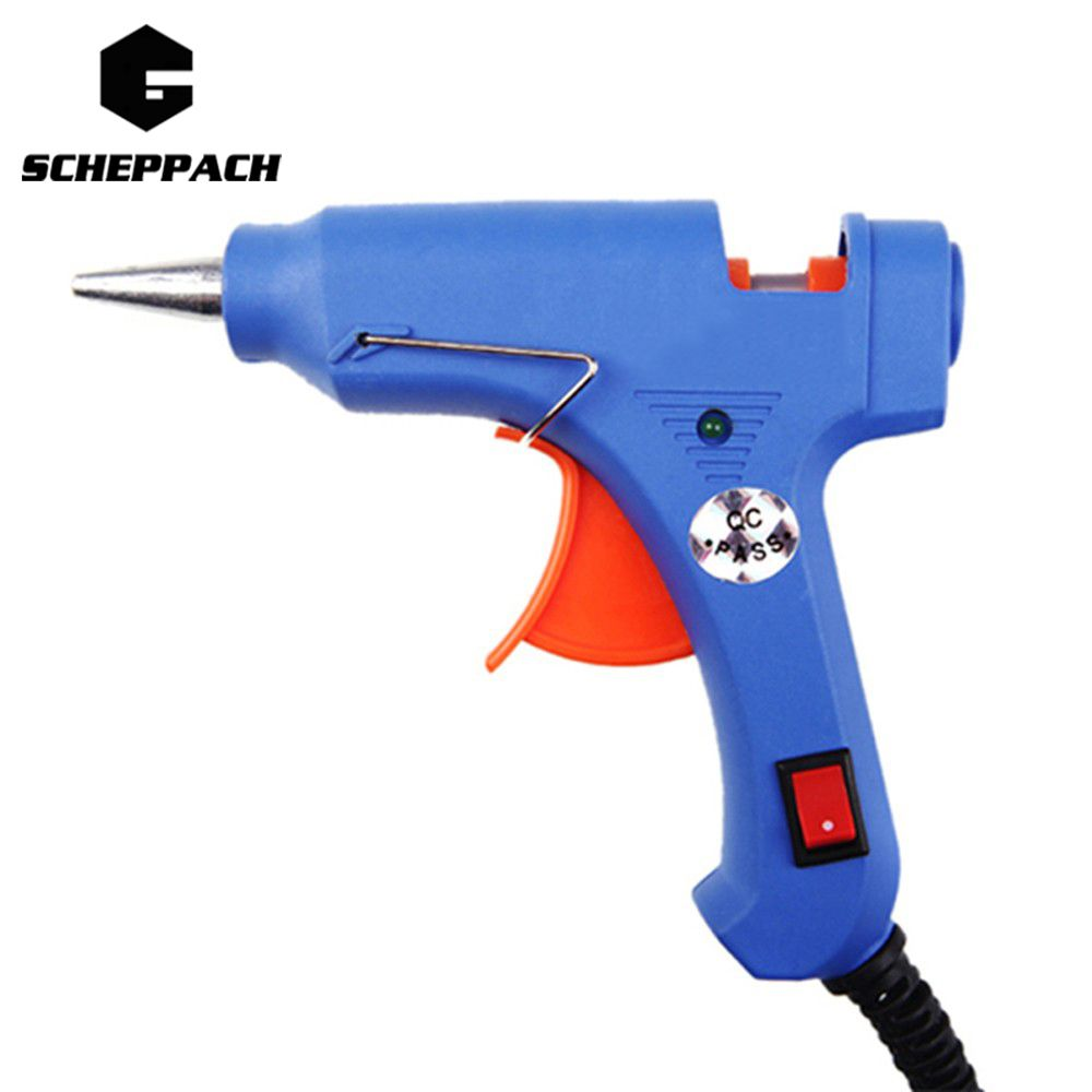 Scheppach High Temp Heater Melt Hot Glue Gun 20W Repair Tool Heat Gun Blue Mini Gun EU Plug Hot Melt Glue Gun Sticks