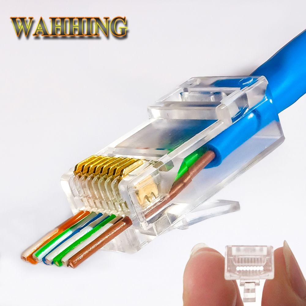 50/100 pcs EZ rj45 connecteur cat5e cat6 connecteur réseau non blindé 8Pin modulaire utp rj45 bouchons ont trou HY1525