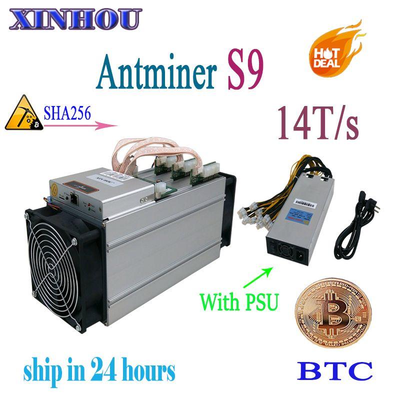 Used ASIC miner AntMiner S9 14T/s SHA256 (With PSU) Btc BCH Miner Better Than Antminer S9 13.5T T9 V9 whatsminer m3
