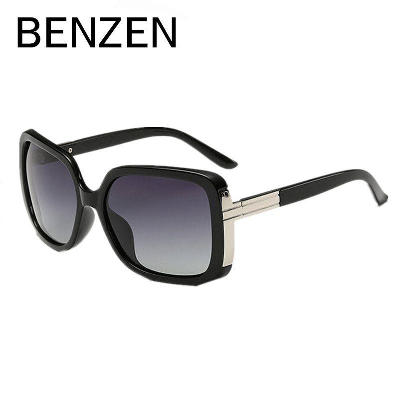 Бензола поляризованных солнцезащитных очков Для женщин негабаритных ретро женские солнцезащитные очки для вождения оттенки Gafas UV 400 черный...