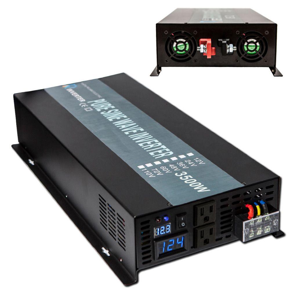 Pure Sine Wave Inverter 12 220 3500W Solar Inverter Car Power Inverter 12V/24V DC to 120V/220V AC Voltage Converters Inverters