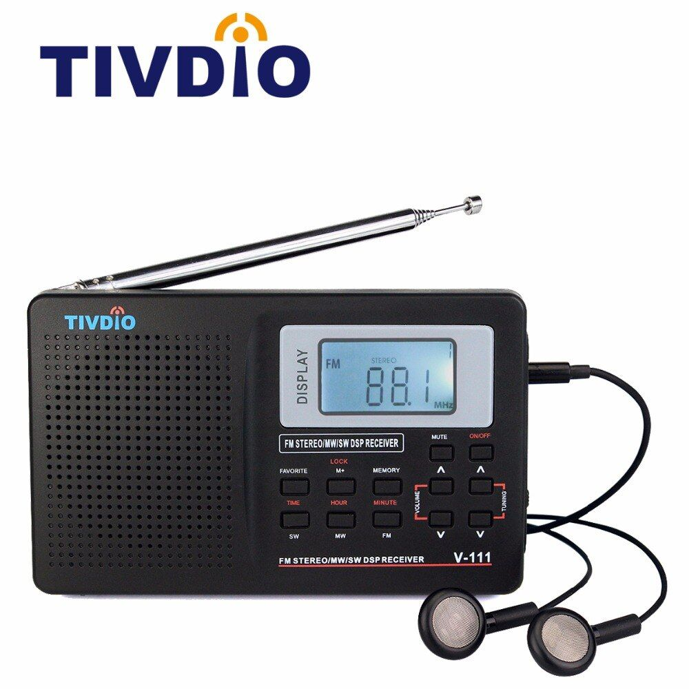 Tivdio V-111 Full Band Radio FM <font><b>Stereo</b></font>/MW/SW DSP World Band Receiver with Timing Alarm Clock Portable Radio Black F9201