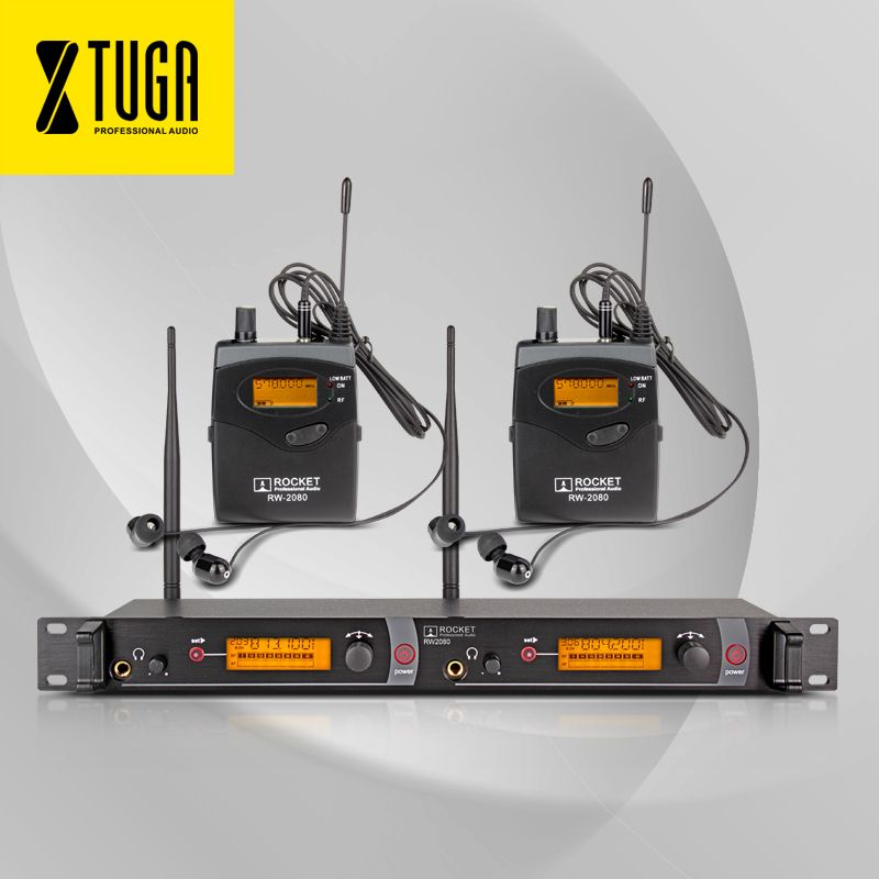 Top Quality!! Rocket Audio RW2080 In Ear Monitor System 2 Channel 2 Bodypack Monitoring with in earphone wireless SR2050 Type!