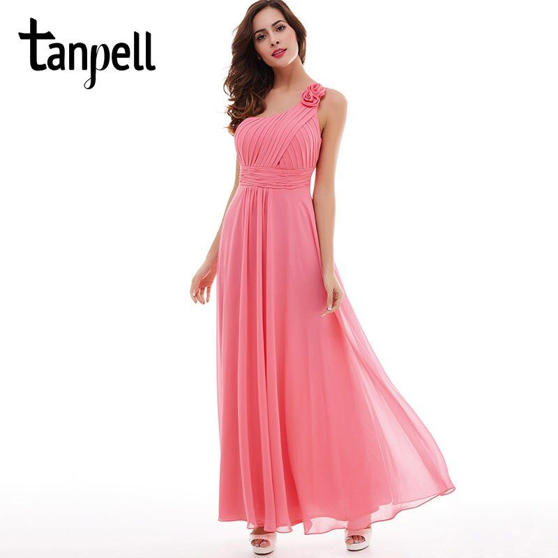 Tanpell flower one shoulder bridesmaid dress party watermelon floor length dress cheap pleated chiffon a line bridesmaid dress