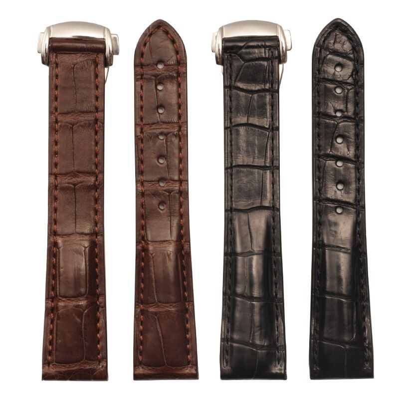 Watch Band For Omega Alligator Leather Strap For De Ville For Aqua Terra Croc Watches Straps For Men 19 20mm Black Bracelet Belt