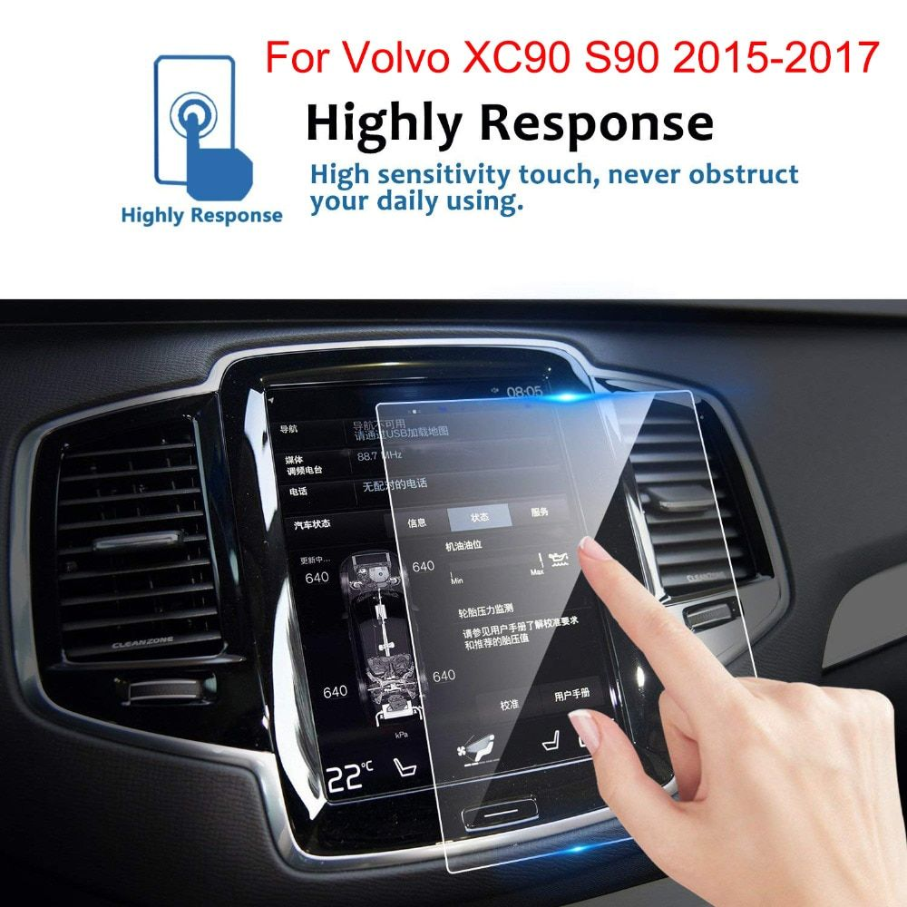 KEMiMOTO 180*135mm For Volvo XC90 S90 2015-2017 Screen Protective Film Car GPS Navigation Tempered Glass Screen Protector Stick