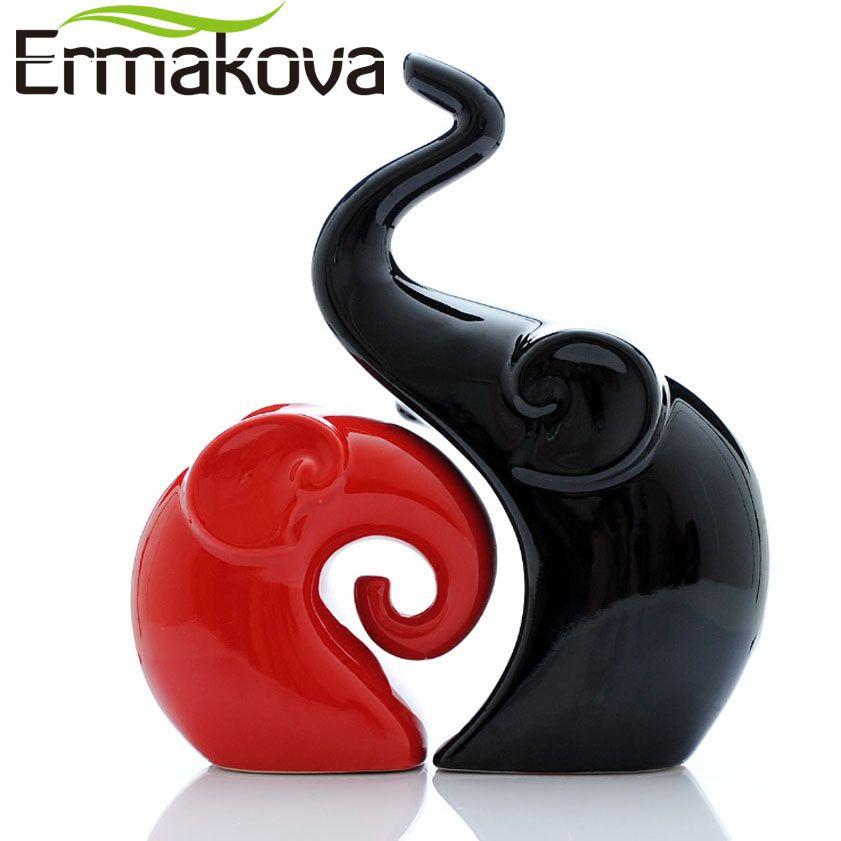 ERMAKOVA 2 pièces/paire En Céramique Éléphant Figurine Amoureux Des Animaux Couple Porcelaine De Mariage Cadeau armoire personnelle Vivant décor de chambre