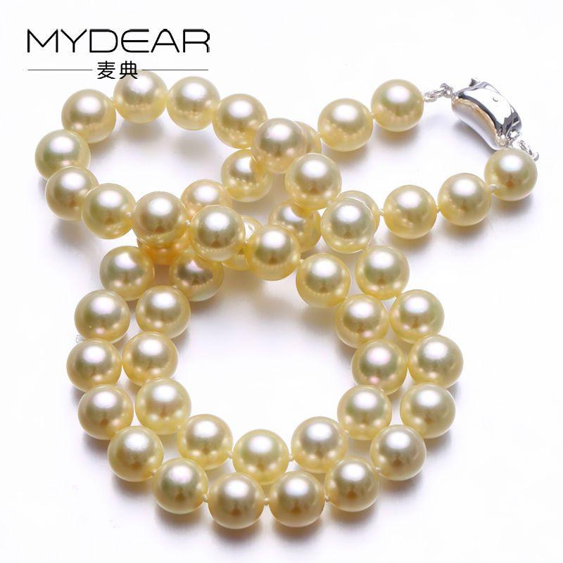 MYDEAR Perlenkette Schmuck 2016 Neueste Mode Persönlichkeit 8-8,5 mt Akoya Perle Strang Halskette, Hoher Glanz, perfekt Runde