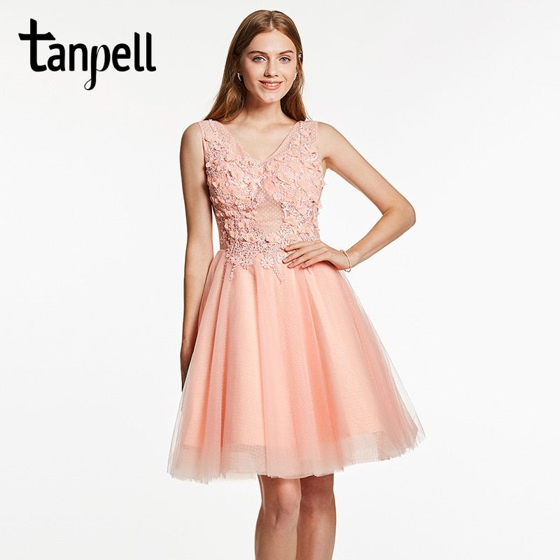 Tanpell appliques homecoming dress pink v neck sleeveless knee length dresses women beaded cocktail short homecoming ball gown