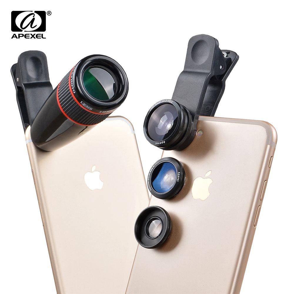 12X téléobjectif télescope optique Zoom + grand Angle & Macro + Fisheye objectif Kit d'objectif pour iPhone5s 7 6 s Plus Samsung 12CX3