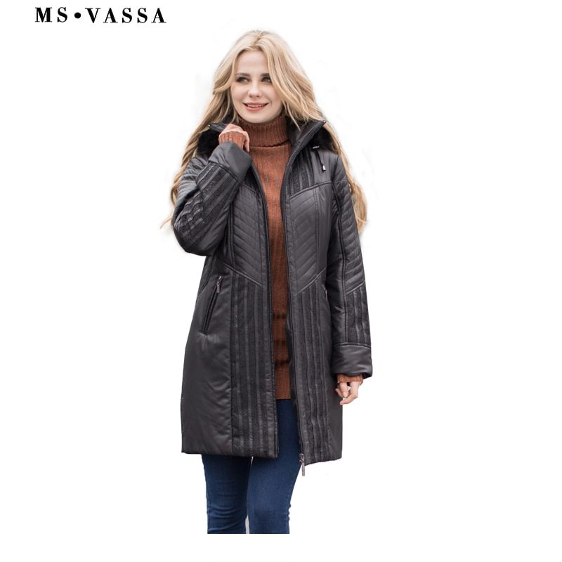 MS VASSA Women Trench coats Autumn Winter Ladies Fashion coat detachable hood with fake fur plus size 4XL 6XL lace decoration