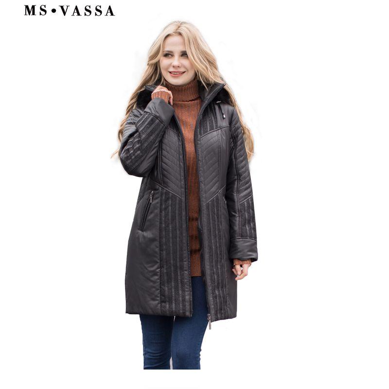MS VASSA Women <font><b>Trench</b></font> coats Autumn Winter Ladies Fashion coat detachable hood with fake fur plus size 4XL 6XL lace decoration